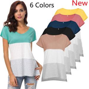 New-Women-Summer-Short-Sleeve-Wide-Striped-Shirt-Blouse-V-Neck-T-Shirts-Tee-Tops