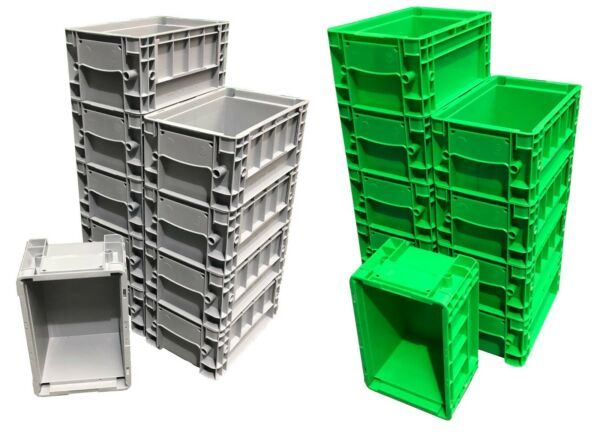 10 X 5.3 L Heavy Duty Plastic Stacking Euro Storage Klt Containers Boxes Crates