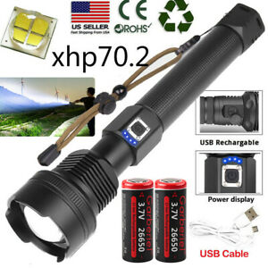 2PCS 990000Lumens Super Bright Tactical LED Flashlight Portable Torch Light Lamp