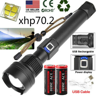 90000 Lumens XHP70 Led Flashlight Micro USB Telescopic Zoom Torch 3 Modes IPX-6