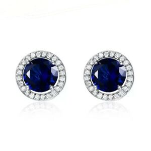 925-Sterling-Silver-Round-Blue-Sapphire-White-Cz-Halo-Stud-Earrings
