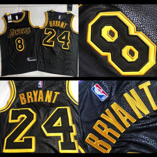 /' Black Mamba /' #8 /& #24 Kobe Bryant Stitch Embroidery Jersey
