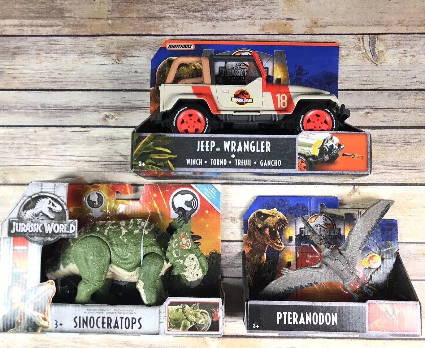 New Jurassic World Dinosaur Legacy Lot Jeep Wrangler Pteranodon Sinoceratops