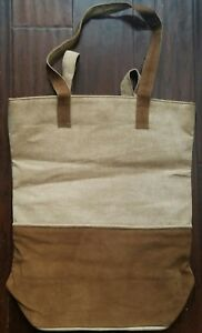 7c9c969b4d Image is loading NEW-MARK-amp-GRAHAM-BROWN-SUEDE-CANVAS-TOTE-