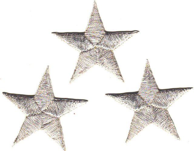 """STARS -SILVER METALLIC 1 1/4"""" Stars(3 Pc)-Iron On Embroidered Applique/Astrology"""