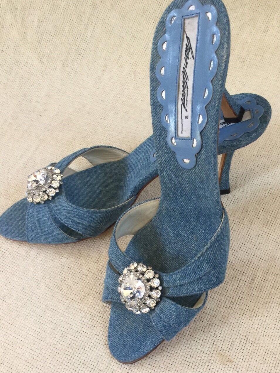 New New New Brian Atwood bluee Denim Peektoe Slides Heels Rhinestone Flower Accent sz 38 bda232