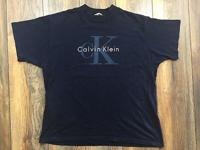 vtg 90s Calvin Klein Jeans CK big spell out logo T Shirt soft NAVY XL HIP HOP | eBay