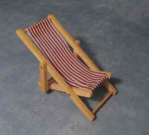 Red & White Striped Deck Chair, Dolls House Miniatures, Seaside Beach