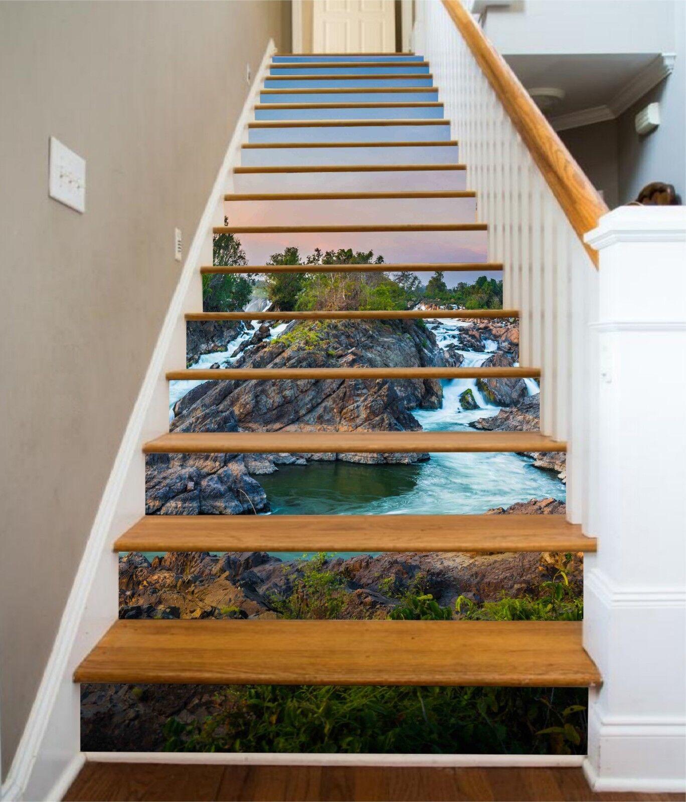 3D Netter Flüsse 27 Stair Risers Dekoration Fototapete Vinyl Aufkleber Tapete DE