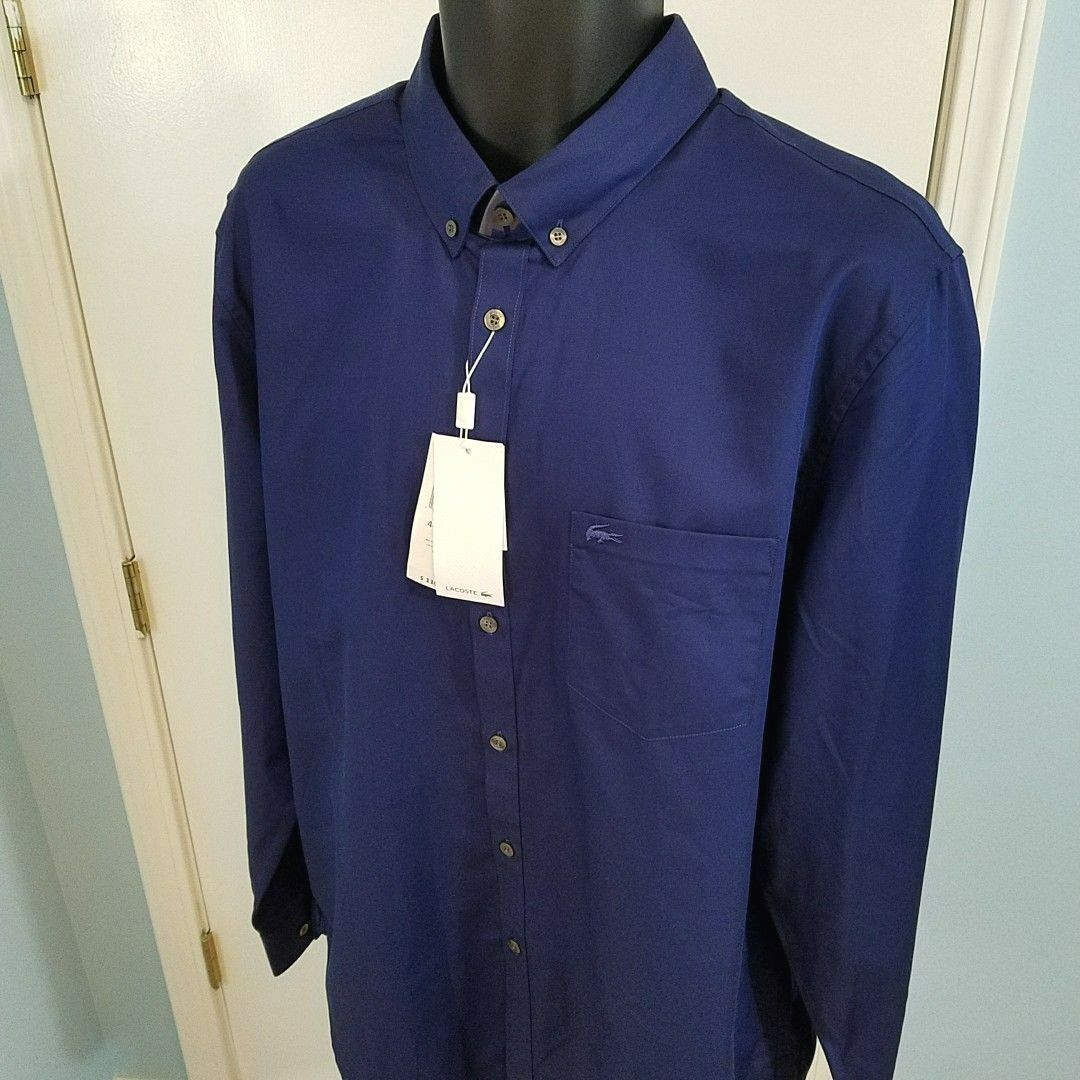 253f846f NWT Lacoste Regular Fit Pique Button Down Shirt Size 1 2 17 Mini ...