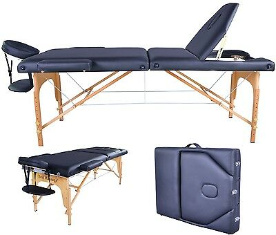 New BestMassage Black PU Reiki Portable Massage Table w/Carry Case U9