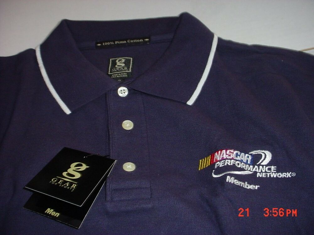 Prix Pas Cher Nascar Logo Manches Courtes Coton Pima Polo Bleu Marine Chemise Nouveau Pour ExpéDition Rapide