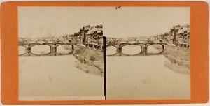 Florence Pont S.Trinita Italia Foto Stereo PL48L3n Vintage Albumina c1875