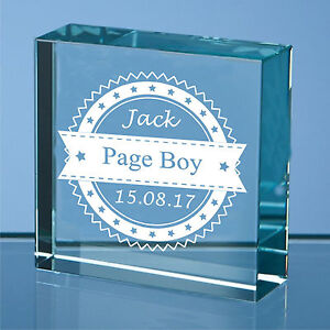 Image Is Loading Personalised Engraved Gl Block Wedding Gifts Page Boy