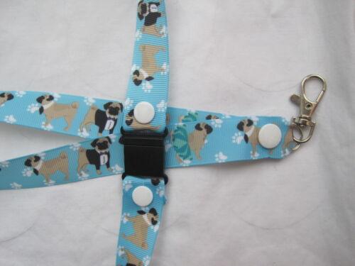 2 sizes Pug dog safety breakaway lanyard keys ID badges ribbon grooming  gift