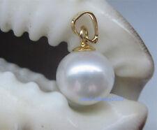 White AAA 12-11 mm natural 14k gold pearl  south China sea pendant