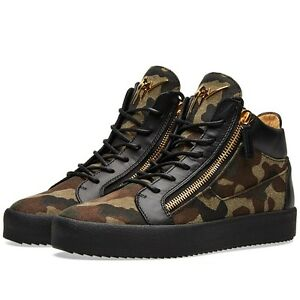 092567d0c3538 Image is loading Giuseppe-Zanotti-Camouflage-Sneakers-Black-Gold-Brown-and-