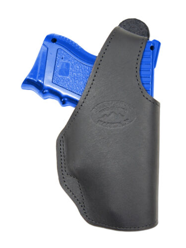 New Barsony Black Leather OWB Belt Holster Mag Pouch Taurus Compact 9mm 40 45