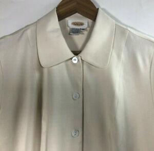 Talbots-Women-s-Size-14-Ivory-Short-Sleeve-Shirt-100-Silk-Button-Front