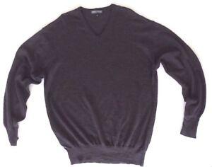 Warren-amp-Parker-Mens-V-Neck-Jumper-Pullover-Gray-Size-XL-Extrafine-Merino-Wool