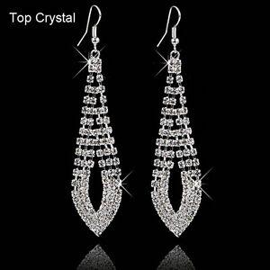 Fashion-Women-Rhinestone-Crystal-Jewelry-Ear-Hook-Drop-Dangle-Wedding-Earrings