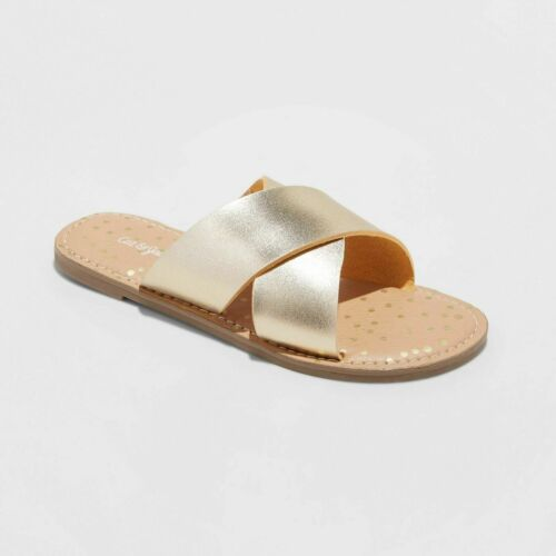 Girls Margot Slide Sandals Gold Cat /& Jack