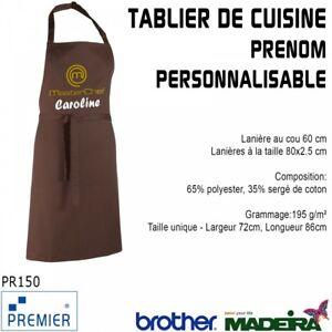 Broderie Tablier De Cuisine Brun Masterchef Prenom Personnalisable