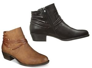 MADDEN GIRL Become Leather Zide Zip Ankle Boots Women Cognac Brown