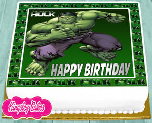Enjoyable Precut Edible Icing 7 5 Inch Incredible Hulk Happy Birthday Cake Funny Birthday Cards Online Bapapcheapnameinfo