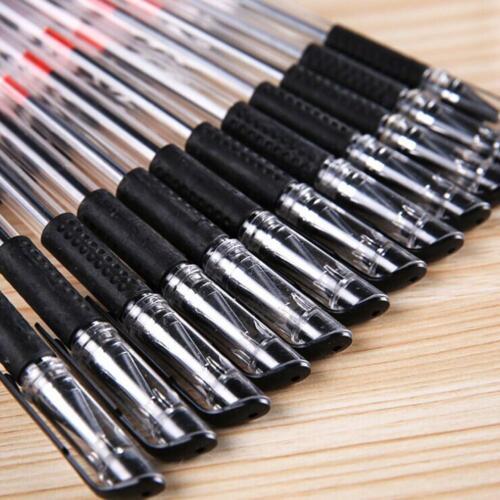 12x 0.5mm Schwarzer Gel-Tintenroller-Kugelschreiber für Schule Büroartikel////