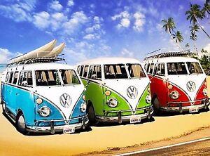 California-Surf-039-s-Up-VW-Volkswagon-Van-Ocean-Beach-Travel-Advertisement-Poster