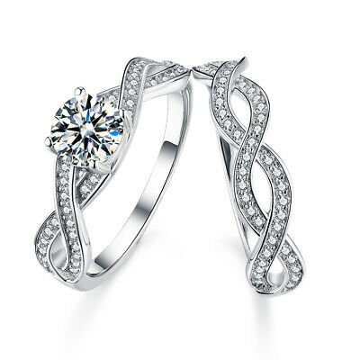 New Sterling Silver Engagement Wedding Eternity Ring Set Aaa Crystals Women Uk Ebay
