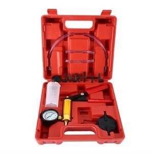Brake Fluid Bleeder Hand Held Vacuum Pistol Pump Tester Kit + Adapters w/ Case