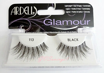 Ardell Glamour Lashes #113 False Eyelashes AUTHENTIC Wispies Strip Black