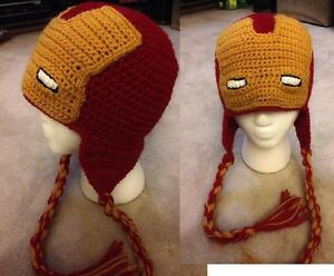 c117a252c82 Image is loading Hand-Crochet-Super-Hero-Ironman-Hat-Beanie-Made-