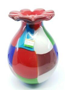 Vintage-Modernist-Murano-Style-Art-Glass-Vase-Red-Flower-Patchwork-11-034
