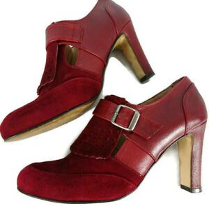 Jigsaw-UK-6-Red-Burgundy-Block-Heel-Brogue-Suede-Buckle-Shoes-Smart-Office-Work