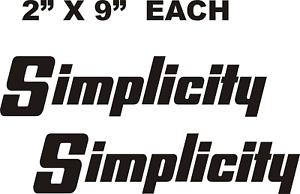 X SIMPLICITY  GARDEN  TRACTOR BLACK VINYL DECALS  DS