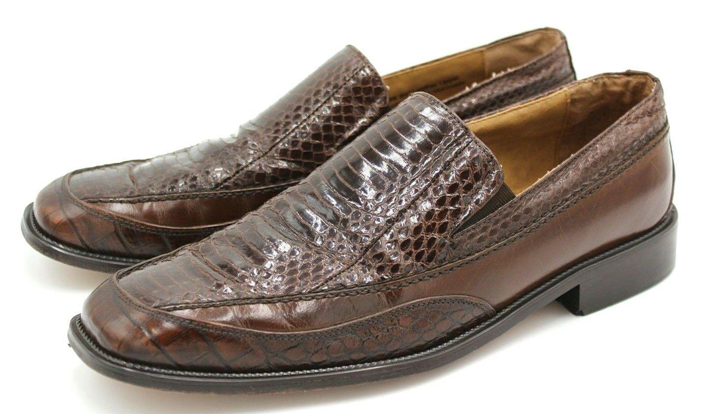Stacy Adams Men Sz 9M, Genuine Snake Skin Leather Loafer, Brown, Apron Toe