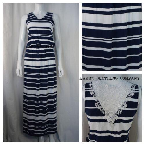 M/&S Ladies Maxi Dress Navy White Stripe Lace Back Ruched Waist Sleeveless 8-22