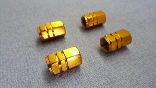 SAAB 9-3 9-5 GOLD METAL DUST VALVE CAPS TYRE WHEEL ALUMINIUM HEXAGON COVER
