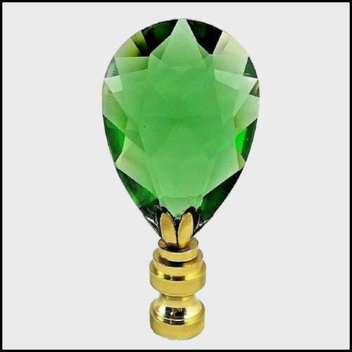 EMERALD  CRYSTAL FACETED PENDELOGUE  ELECTRIC LIGHTING LAMP  SHADE FINIAL  NEW