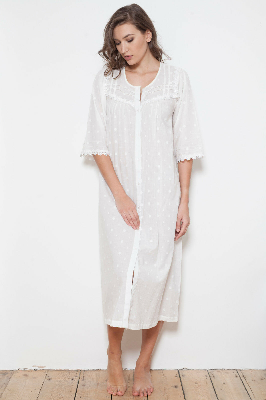 Cottonreal 'Noel' 100% Cotton Polka Dot Button Through Nightdress  Housecoat