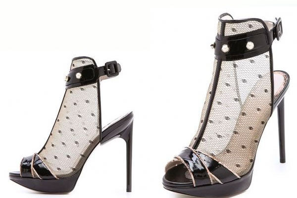 960 New Jason Wu Runway Stella Lace Nude Black Ankle Strap Pearls Heels shoes