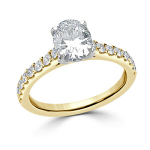 1.30 Ct Oval Cut Genuine Moissanite Wedding Ring 14K Solid Yellow Gold Size 6.5