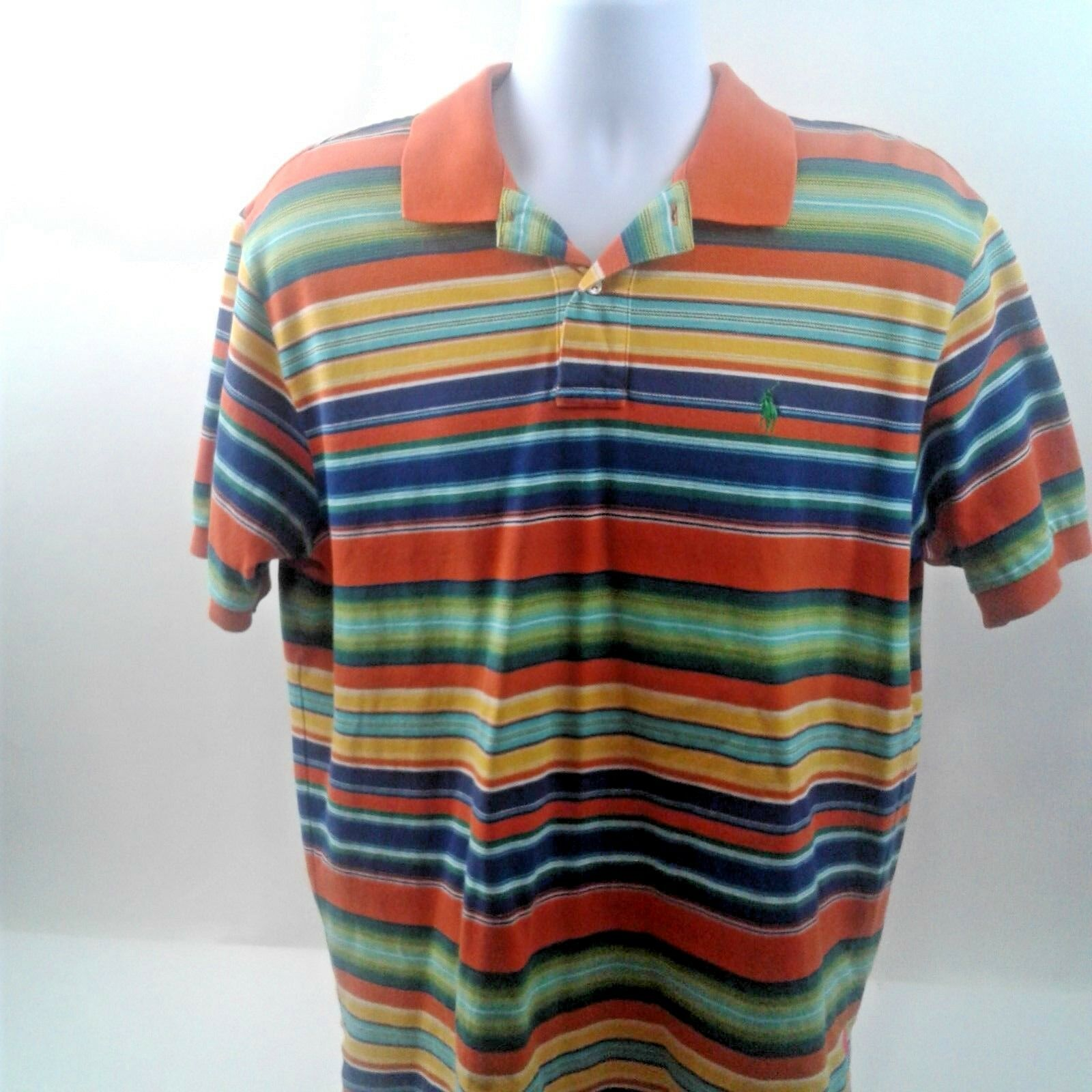 Vintage Polo by Ralph Lauren orange Green bluee Stripe 100 % Cotton Polo Size L