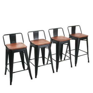 Amazing Details About 4 24 Metal Bar Stools Counter Height Barstool Chairs Low Backrest Wooden Seat Gamerscity Chair Design For Home Gamerscityorg