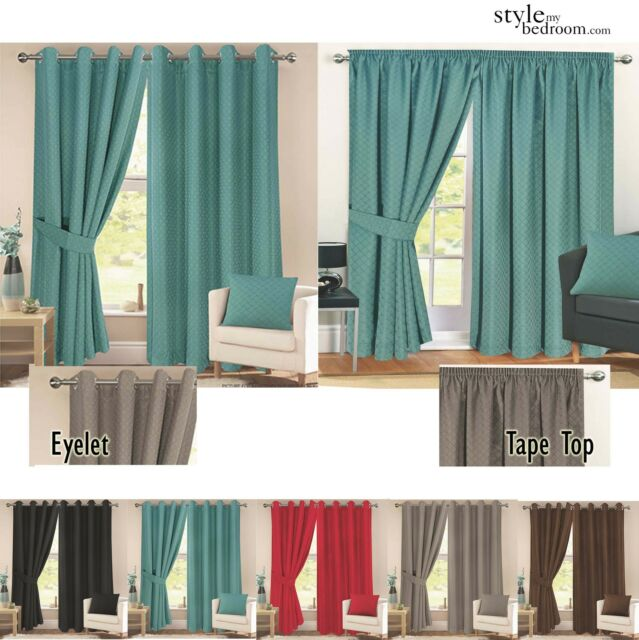 Pair Fully Lined Jacquard Diamond Detail Curtains Ties In 11 Sizes 6 Colours Cushion Cover Teal 3 Tape Top