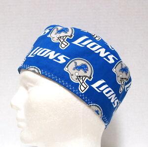 Detroit Lions Mens Scrub Hat, Skull Cap, Surgical Cap, Chemo Hat