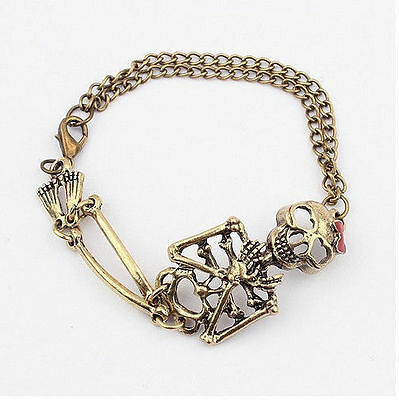 Vintage Retro alloy Hot Rock Gothic Punk Double Skull Bangle charm Bracelet J6P8